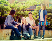Group of carefree teenagers in park on sunny day. Group of carefree teenagers friendly communicating in park on sunny day Royalty Free Stock Images