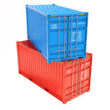 Group cargo containers. On white background 3d Stock Photos