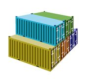 A Group of Cargo Containers on White Background Stock Photos