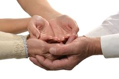 Group of caring hands. Closeup isolated on white background Royalty Free Stock Photo