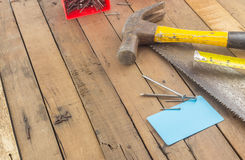 Group of carpentry tools on wood Royalty Free Stock Image