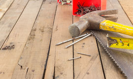 Group of carpentry tools on wood Royalty Free Stock Images