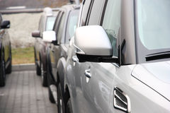 Group of cars. Stand in one number of dark color Royalty Free Stock Photography