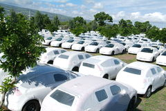 Group of cars at la Reunion island Stock Images