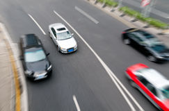 Group of cars on the street road Royalty Free Stock Photo