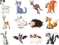 Group of cartoon animals. Vector illustration of funny happy animals. N royalty free illustration