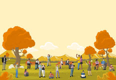 Group of cartoon business people. Business people in a park with smart phones and computers. Nature landscape Royalty Free Stock Image