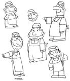 Group of cartoon chefs. A group of black & white cartoon drawings of chefs Stock Photo