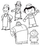 Group of cartoon chefs. A group of black & white cartoon drawings of chefs Stock Photography