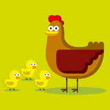Group Of Cartoon Chicks And Hen With Color Royalty Free Stock Photos