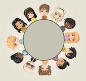 Group of cartoon children. Manga anime teenagers Royalty Free Stock Photo