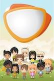 Group of cartoon children. Manga anime teenagers Royalty Free Stock Photos