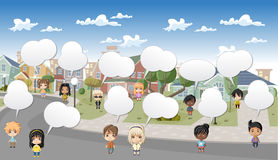 Group of cartoon children. Royalty Free Stock Photos