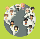 Group of cartoon children. Royalty Free Stock Photo
