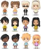 Group of cartoon children. Manga anime teenagers Stock Image