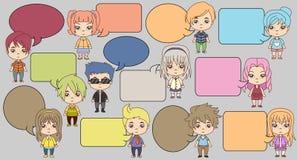 Group of cartoon children. Manga anime teenagers Royalty Free Stock Photography