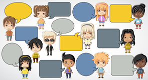 Group of cartoon children. Royalty Free Stock Image