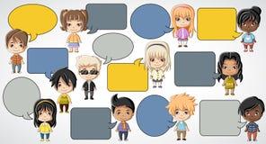 Group of cartoon children. Manga anime teenagers Royalty Free Stock Image
