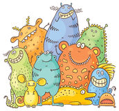 Group of Cartoon Colorful Monsters Stock Images