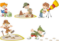 Group of cartoon explorer boys Stock Photos