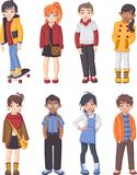 Group of cartoon fashion children. Teenager Stock Image