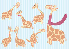 Group of cartoon giraffe with different emotions. Stock Photo