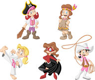 Group of cartoon girls Stock Photos