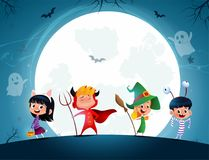 Group of cartoon kids in Halloween in the moonlight royalty free illustration