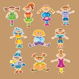 Group of cartoon kids. Group of vector cartoon kids and children Royalty Free Stock Photography