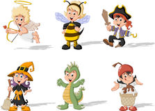 Group of cartoon kids wearing costumes Royalty Free Stock Image