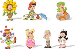 Group of cartoon kids wearing costumes Stock Photos