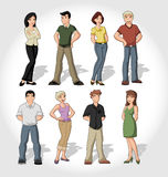 Group of cartoon people. Group of colorful cartoon people standing Royalty Free Stock Photo