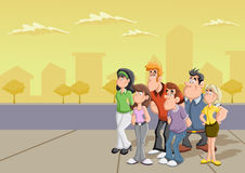 Group of cartoon people. On the street Royalty Free Stock Photography