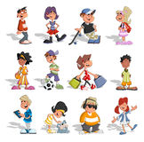 Group of cartoon people. Group of 12 cartoon people. Teenagers Royalty Free Stock Images