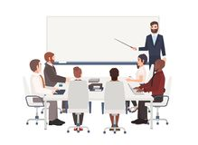 Group of cartoon people dressed in smart clothing sit around table and listen to man with pointer making presentation at royalty free illustration