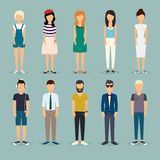 Group cartoon people. Social Network and Social Media Concept.  Stock Photo