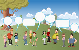 Group of cartoon people talking. With speech balloon icons on green park Royalty Free Stock Photography