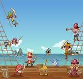 Group of cartoon pirates. On a decks of a ship Stock Photos