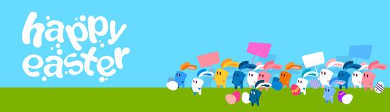 Group Of Cartoon Rabbits Hold Placard Eggs Happy Easter Holiday Banner Royalty Free Stock Photos
