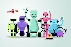 Group of cartoon robots on white background. Cyborgs, androids and drone. Vector illustration. royalty free illustration