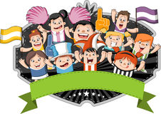 Group of cartoon sport fans Royalty Free Stock Photography