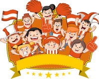 Group of cartoon sport fans Royalty Free Stock Images