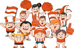 Group of cartoon sport fans Stock Photography