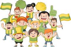 Group of cartoon sport fans Stock Photos