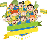 Group of cartoon sport fans Royalty Free Stock Image