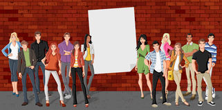 Group of cartoon teenagers Stock Photography