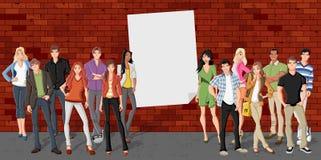 Group of cartoon teenagers Stock Photography