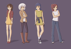 Group of cartoon young girls. Royalty Free Stock Photo