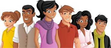 Cartoon young people. Group of cartoon young people Stock Photos