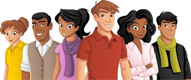 Cartoon young people. Group of cartoon young people Stock Image